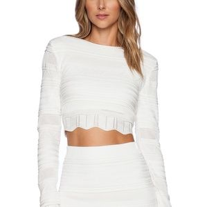 Torn by Ronny Kobo Arielle scalloped crop top